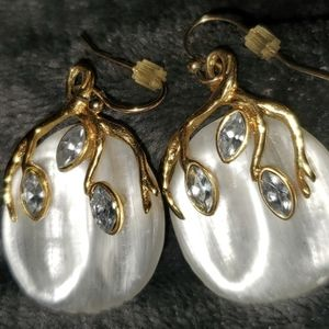 Alexis Bittar MOP Lucite Sterling Gold Earrings